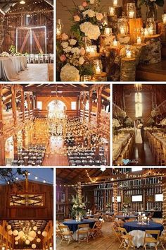 Stunning barn weddings. Rustic meets refined   Tree stump and candle ceremony decor. Elegant January barn wedding Salem, OR   A barn wedding ceremony. Love the garlands filled with stars.   Mountain lodge for a rustic gold wedding   Barn wedding   Navy barn wedding reception
