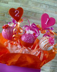 21st birthday arrangement #cakepops #pink #orange #21st