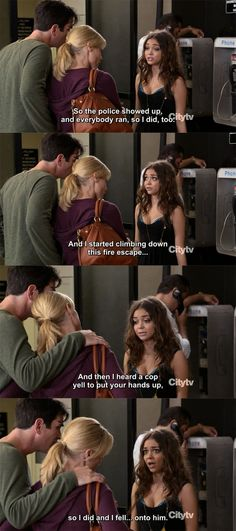 Modern Family - So I did and fell hahahahaha ❤ ℒℴvℯly Tv Shows Funny, Best Tv Shows, Tv Quotes, Movie Quotes, Qoutes, Modern Family Memes, Modern Family Haley, American Dad, Fandoms