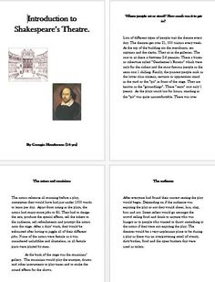 Georgie's fact file about the theatre in Elizabethan England.