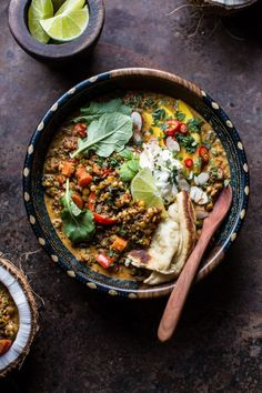 Simple Coconut Quinoa and Lentil Curry with Lime Mangocountryliving