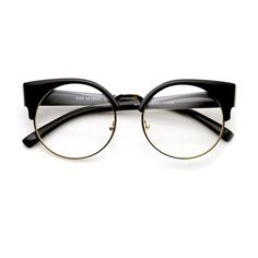 Womens Half Frame Semi-Rimless Clear Lens Cat eye Round Glasses (£10) ❤ liked on Polyvore featuring accessories, eyewear, eyeglasses, glasses, sunglasses, gold eyeglasses, semi rimless eyeglasses, cat-eye glasses, cat eye glasses and round black glasses