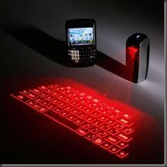An awesome virtual qwerty keyboard input Bluetooth wireless signal transmission PC laptop cellphone