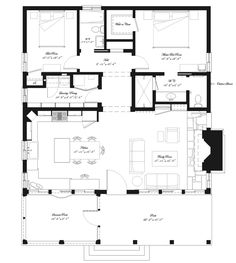 Southern Style House Plan - 2 Beds 2 Baths 1394 Sq/Ft Plan Interesting - lots of space Dream House Plans, Small House Plans, House Floor Plans, The Plan, How To Plan, Plan Plan, Plan Chalet, Simple Floor Plans, Cottage Plan