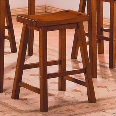 """Homelegance Saddleback 24"""" Seat Height Bar Stool in Oak (Set of 2) - 5302A-24 - Lowest price online on all Homelegance Saddleback 24"""" Seat Height Bar Stool in Oak (Set of 2) - 5302A-24"""
