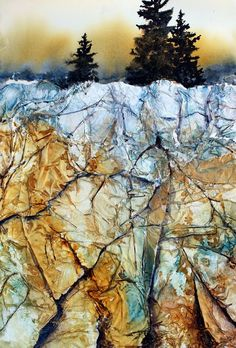 Watercolor painting over tissue paper collage