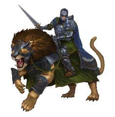 Male Human Dire Lion Cavalier Knight - Pathfinder PFRPG DND D&D 3.5 5th ed d20 fantasy