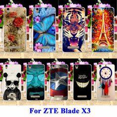 Diy flexible de tpu suave silicona casos de teléfono celular para zte blade x3 cubre Hoja Lámina D2 D2 T620 T620 Bolsas Piel de Vivienda Shell Campana