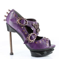 Metropolis Steampunk Sky Captain Heels ~ Purple ~ Brass ~ Industrial ~ Goth ~ Shoes