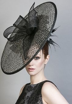 Rachel Trevor Morgan Millinery SS 2016 | R1676 - Black and natural mesh straw disc with silk roses and arrow feathers