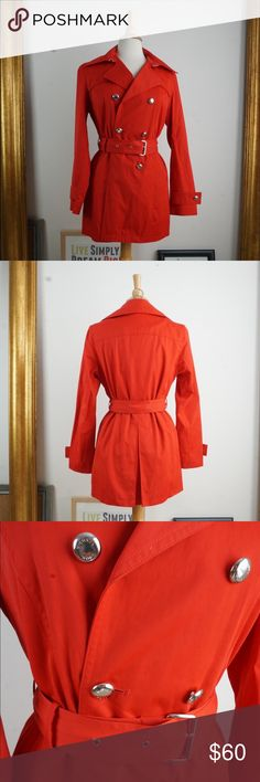 Red Michael Kors Trench Coat New in Excellent Condition/ No Trades/ No PayPal/ Smoke & Pet Free Home/ Please Ask Questions!/ Like what you see but the price too high? Make an offer! / offers on bundles are welcome! This is new used one time to model, that's it. No blemishes or stains of any kind. MICHAEL Michael Kors Jackets & Coats Trench Coats