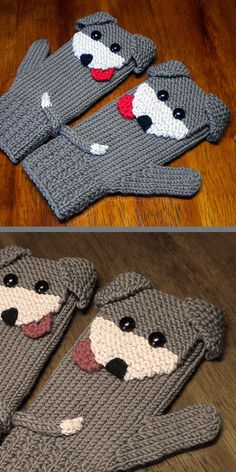 Knitting pattern for puppy dog mittens adorable puppy mittens in sizes for the entire family! sizes 2 4 6 8 10 teen women men designer allows you to sell items made from this pattern! worsted weight yarn designed by aunt janet s designs Crochet Mittens Pattern, Knit Mittens, Baby Knitting Patterns, Knitting Designs, Mitten Gloves, Free Knitting, Knitting Projects, Knit Crochet, Crochet Patterns
