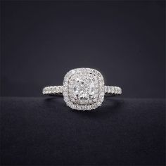 The PERFECT SIZE!!! Cushion Cut Diamond 0.5CT Center Double Halo Ring - LonzeJewelry.com, Diamond Rings and Diamond Jewelry