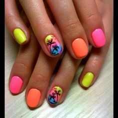 Beach nails, Beautiful nails 2016, Bright summer nails, Colorful nails, Drawings on nails, Exotic nails, Juicy nails, Marine nails