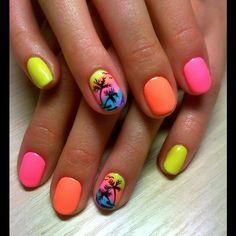 Beach nails, Beautiful nails 2016, Bright summer nails, Colorful nails, Drawings on nails, Exotic nails, Juicy nails, Marine nails