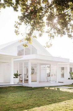 all white farmhouse exterior all white everything white farmhouse exterior with brick White Farmhouse Exterior, Modern Exterior, Exterior Design, White Exterior Houses, White Beach Houses, Three Birds Renovations, Beach Cottage Style, Hamptons House, White Cottage