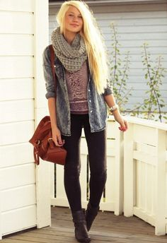 Casual Outfit with A Scarf. use a denim shirt as a overshirt