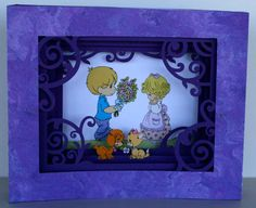"""Shadow box card I made using the Cameo """"mother shadow box card"""" cutting file and Precious Moments images. I cut off the word """"mother"""" from one of the layers."""
