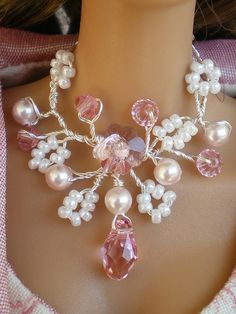 OOAK white and pink necklace