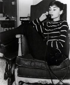 Audrey Hepburn style - black and white, stripes, tight fitted