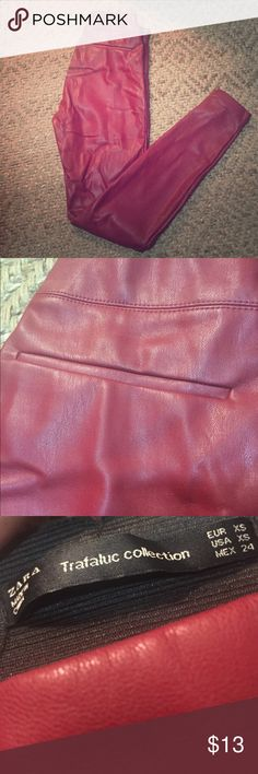 Zara Trafaluc Collection- Red Leather pants Red Leather pants. True to size. Zipper on right side and on ankles for easy wear. Zara Pants Skinny