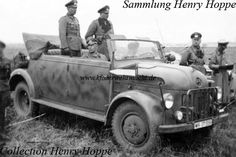 Some commander's cabriolets based on the Steyr 1500 A were manufactured, too. On the prototype, the spare wheels were fitted outside of the car body. This was changed on the serial model. The shown vehicle belonged to Generalfeldmarschall Hube. The photo was made in the area of 23th Panzer Division in the year 1943.