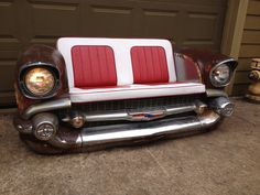 1957 Chevy front made into a bench with working headlights and park lights