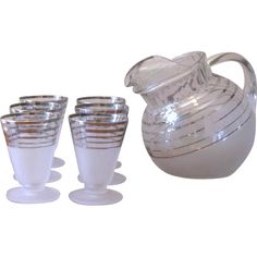 Mid Century Frosted & Chrome Striped Pitcher and Juice Glass Set at whimsicalvintage.rubylane.com