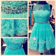 Simple-dress Pretty Scoop A-line Lace Short Homecoming Dresses/Sweet 16 Dresses  LAHD-70713