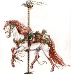 Contest Entry-Alonso Carousel by lunatteo on DeviantArt All The Pretty Horses, Beautiful Horses, Carosel Horse, Painted Pony, Hobby Horse, Merry Go Round, Horse Drawings, Horse Art, Vintage Images