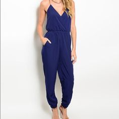🎉HOST PICK🎉 Crisscross-Strap Jumpsuit This jumpsuit with spaghetti straps and a gathered waistband gives you a long, lean and pulled-together look. This is brand new - only took out of packing to photograph and measure. Did not come with tags. Size note: This item runs in juniors sizing. Pants Jumpsuits & Rompers