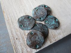 Patina Metal casting connector flat round organic by yukidesigns £3 & £4.60