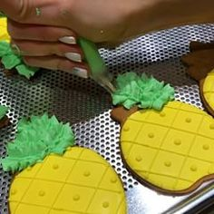 Quick tutorial on how to make simple pineapple cookies using stiff consistency royal icing & a leaf bag tip number 70 Let me know in comments below if you have any questions Get a full product list of everything that I use for cookie decorating when you subscribe on my website www.talecookies.com (active link in bio @talecookies) #talecookies #tanyadur #pineapple #pineapplecookies #pineapplecake #pineapples #cookie #cookievideo #cookietutorial #cookies #cookies #YouTube #tips #...