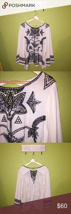 free people embroidered top • breathable cloth • great condition • make an offer • Free People Tops