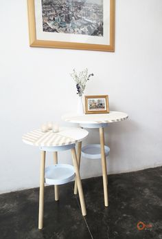 Side tables from paint buckets