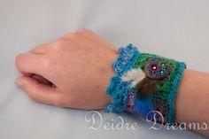 Tribal Hippie Crochet Wrist Cuff  Polymer Clay by DeidreDreams, $50.00