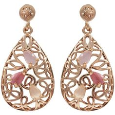 Luxiro Rose Gold Finish Sterling Silver Gemstone Filigree Teardrop... ($45) ❤ liked on Polyvore featuring jewelry, earrings, accessories, pink, long earrings, sterling silver earrings, sterling silver dangle earrings, gemstone earrings and pink earrings