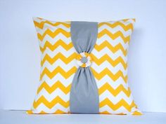 Yellow and White Chevron Stripe Pillow Cover/ Cushion Cover from Etsy