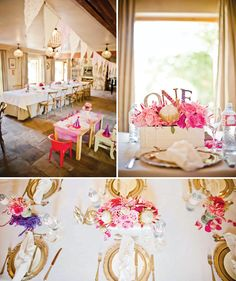 Elegant Tablescapes for Parties | Elegant Pink & Playful First Birthday Ideas // Hostess with the ...