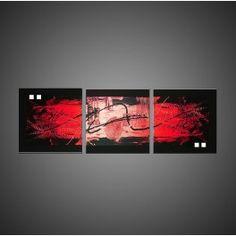 Tableau abstrait triptyque TRIALRED aux tons rouge et noir pour une ...