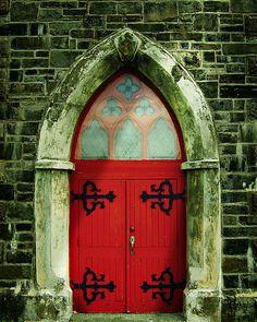 Red Door to St. Pauls' Church in Harbour Grace, Newfoundland Cool Doors, Unique Doors, Portal, Knobs And Knockers, Door Knobs, Doors Galore, When One Door Closes, Windows And Doors, Red Doors