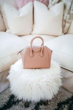 faux fur stool, Givenchy Mini Antigona bag, haute off the rack, designer handbag, cozy living room ideas, world market home decor, fall home decor, glam style,