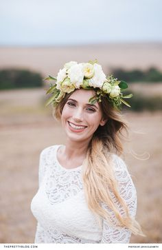 Lace long sleeved wedding dress with floral crown | Flowers and decor: Floral Affairs | Venue and food: De Oudekraal | Photographers: Jenni Elizabeth | Hair and Make Up: Rachel Venter | Wedding Dress: H&M | Bridesmaids Dresses: Zara |