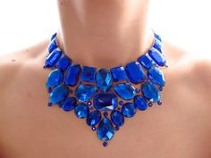 Blue Bib Necklace Rhinestone Statement by SparkleBeastDesign, $29.99