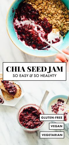 No cooking required for this super SIMPLE chia seed jam recipe. Spread it on toast or muffins, swirl it into your oatmeal, or add a dollop to your yogurt and granola—there are so many DELICIOUS uses for this easy berry chia jam recipe! Good Healthy Recipes, Whole Food Recipes, Vegan Recipes, Healthy Foods, Healthy Breakfasts, Health Recipes, Healthy Nutrition, Chia Seed Jam Recipe, Brunch