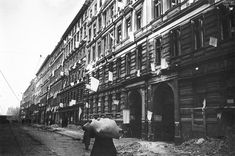 White flags in the houses of Berlin after the surrender, 1945