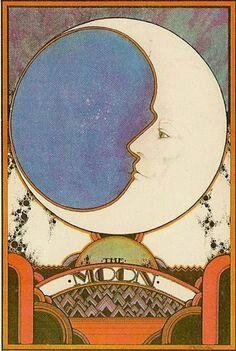 """design-is-fine: """"David Palladini, moon illustration for Aquarian Tarot, USA. Moon Horoscope, Art Nouveau, Moon Illustration, Paper Moon, Alphonse Mucha, Moon Art, Pics Art, Moon Child, Tarot Decks"""