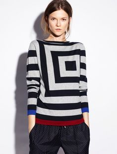 """Step up your sweater game with this bold pattern from JCrew.""  JCREW block sweater $59"
