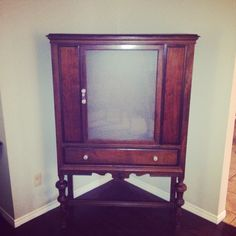 Refinished antique hutch turned into a shoe cabinet for a client.