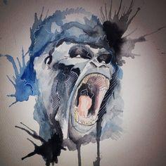 Gorilla • Watercolor •